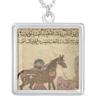 Caring for the horse, illustration silver plated necklace