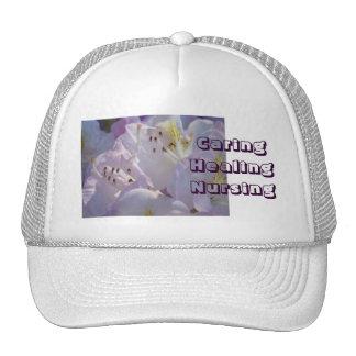 Caring Healing Nursing Hat gifts Floral Pink White