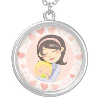 Caring Mother Round Pendant Necklace