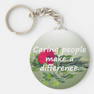 Caring People Make a Difference Basic Round Button Key Ring