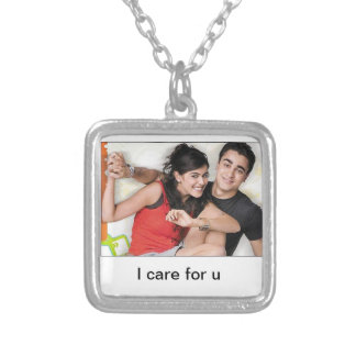 caring square pendant necklace