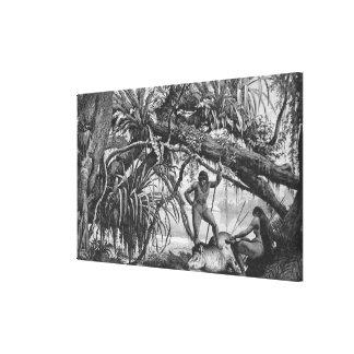 Caripuna Indians with tapir Canvas Print