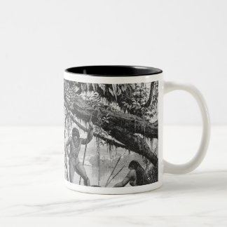 Caripuna Indians with tapir Two-Tone Coffee Mug