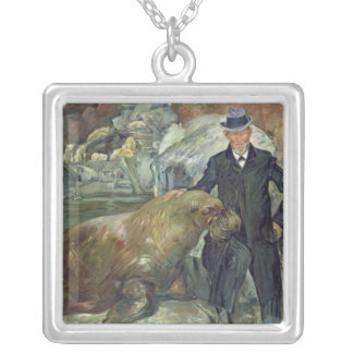 Carl Hagenbeck  in His Zoo, 1911 Silver Plated Necklace
