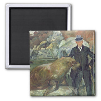 Carl Hagenbeck  in His Zoo, 1911 Square Magnet