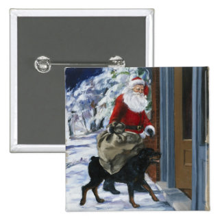Carl Helping Santa Claus from <Carl's Christmas> b 15 Cm Square Badge