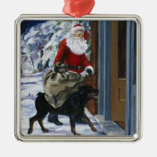 Carl Helping Santa Claus from <Carl's Christmas> b Silver-Colored Square Decoration