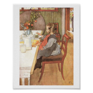 Carl Larsson A Late Riser s Miserable Breakfast Poster