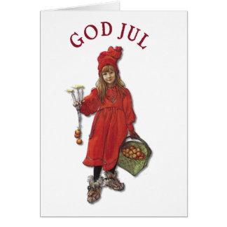Carl Larsson Art Brita Wishes You God Jul Greeting Card