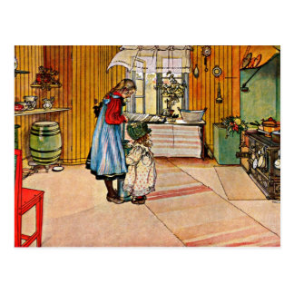 Carl Larsson art: The Kitchen Postcard