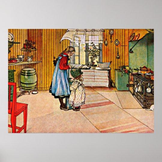 Carl Larsson art: The Kitchen Poster