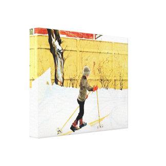 Carl Larsson Boy Skiing at the Falun Home Canvas Print
