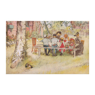 Carl Larsson Breakfast Under The Big Birch Canvas Print