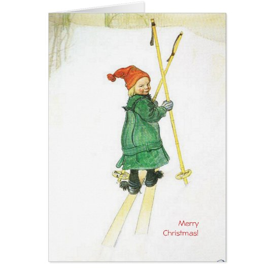 Carl Larsson Christmas Esbjorn on Skis Card