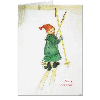 Carl Larsson Christmas Esbjorn on Skis Greeting Card