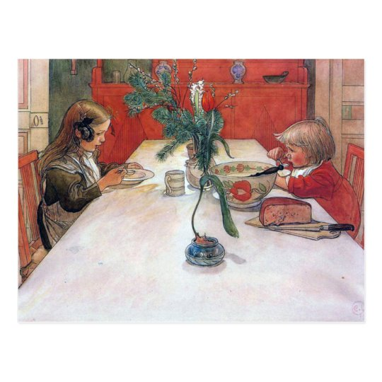 Carl Larsson Christmas Holiday Evening Meal Postcard