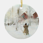 Carl Larsson Christmas in Sweden Round Ceramic Decoration