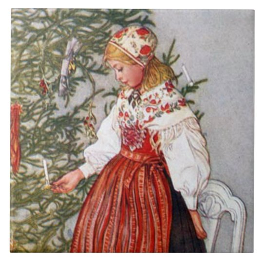 Carl Larsson Christmas Tree Fine Art Tile Trivet