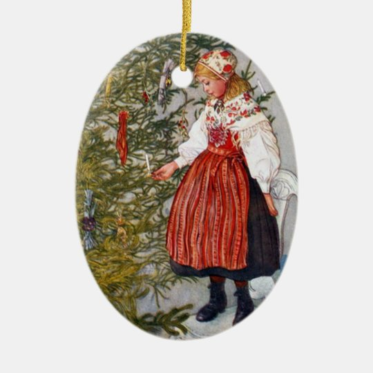 Carl Larsson Christmas Tree Ornament Oval