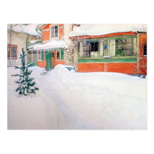 Carl Larsson Cottage in Snow Holiday Christmas Postcard