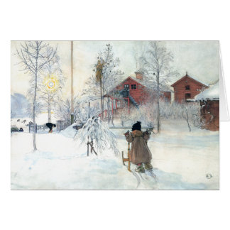 Carl Larsson Custom Christmas Card Snowy Scene