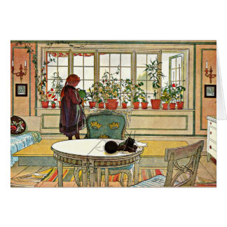 Carl Larsson - Flowers on the Windowsill Greeting Card