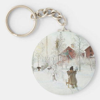 Carl Larsson - Front Yard and the Wash House Basic Round Button Key Ring