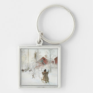 Carl Larsson  Front Yard and the Wash House Silver-Colored Square Key Ring