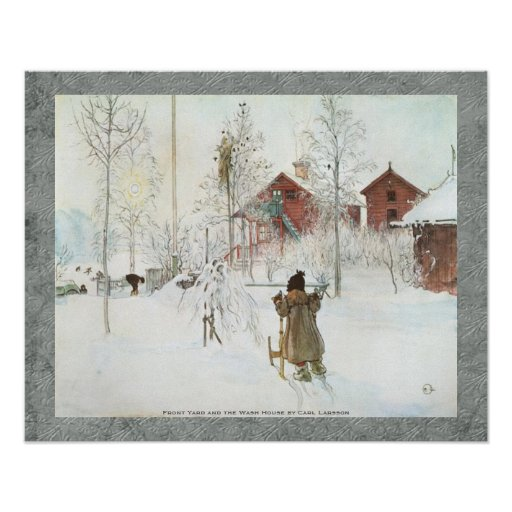 Carl Larsson - Front Yard and the Wash House Poster
