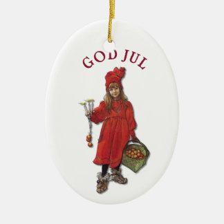 Carl Larsson God Jul with Brita - Merry Christmas Ceramic Oval Decoration