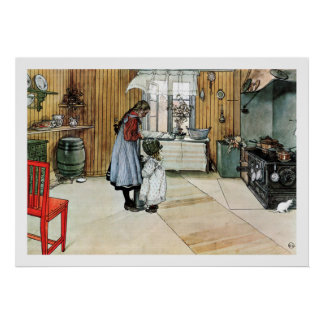 Carl Larsson In the Kitchen Fine Art Print