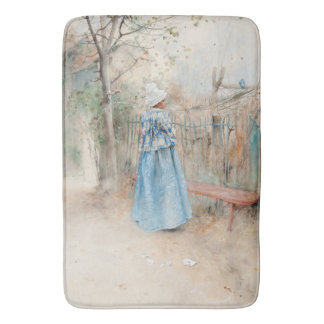 Carl Larsson Lady Blue Dress Autumn Trees Bath Mat