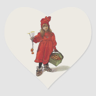 Carl Larsson Little Swedish Girl: Brita as Iduna Heart Sticker