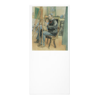 Carl Larsson Painting with His Daughter 10 Cm X 23 Cm Rack Card