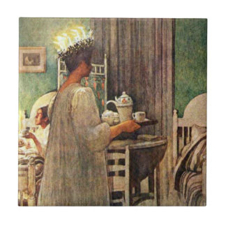 Carl Larsson St. Lucia Day Christmas in Sweden Tile