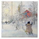 Carl Larsson Winter Snow Scene Art Tile or Trivet