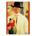 Carl Larsson with Toy Clown Cards
