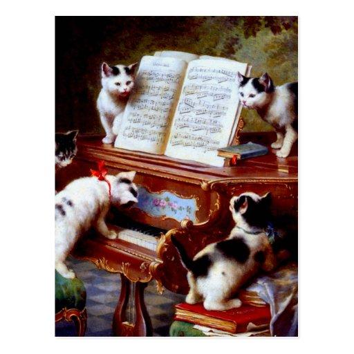 Carl Reichert Kittens Playing Piano Post Card