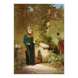 Carl Spitzweg - Newspaper Reader in the Garden 13 Cm X 18 Cm Invitation Card