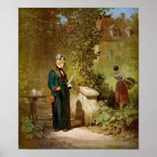 Carl Spitzweg - Newspaper Reader in the Garden Poster
