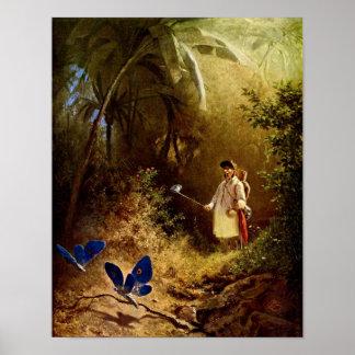 Carl Spitzweg - The Butterfly Hunter Poster