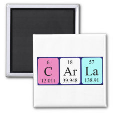 Magnet featuring the name Carla spelled out in symbols of the chemical elements
