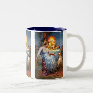 Carlier: Elegant Lady and her Dog Two-Tone Coffee Mug