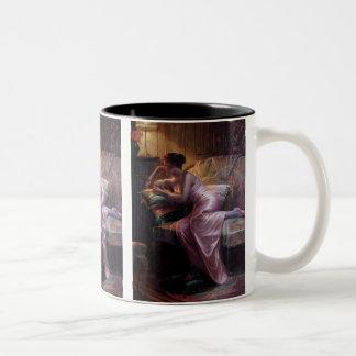 Carlier: Elegant Lady with Mirror Two-Tone Coffee Mug