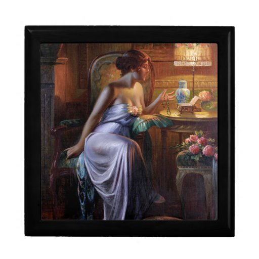 Carlier: Elegant Lady with Necklace Gift Boxes