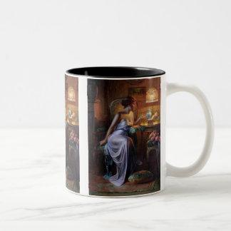 Carlier: Elegant Lady with Necklace Two-Tone Coffee Mug