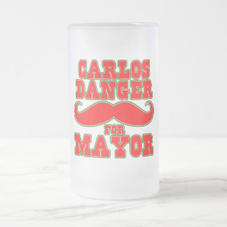 Carlos Danger for Mayor with Mustache Frosted Glass Mug