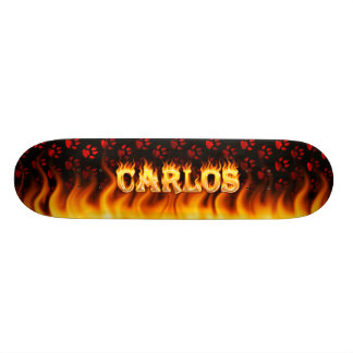 Carlos skateboard fire and flames design