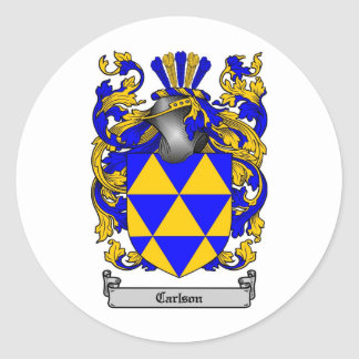 CARLSON FAMILY CREST -  CARLSON COAT OF ARMS ROUND STICKER