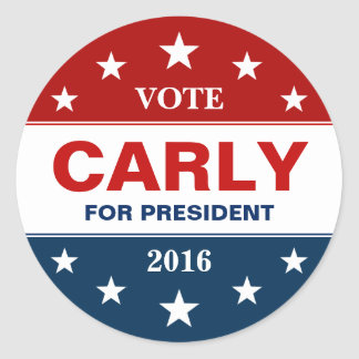 Carly Fiorin 2016 Presidential Campaign Flag Stars Classic Round Sticker